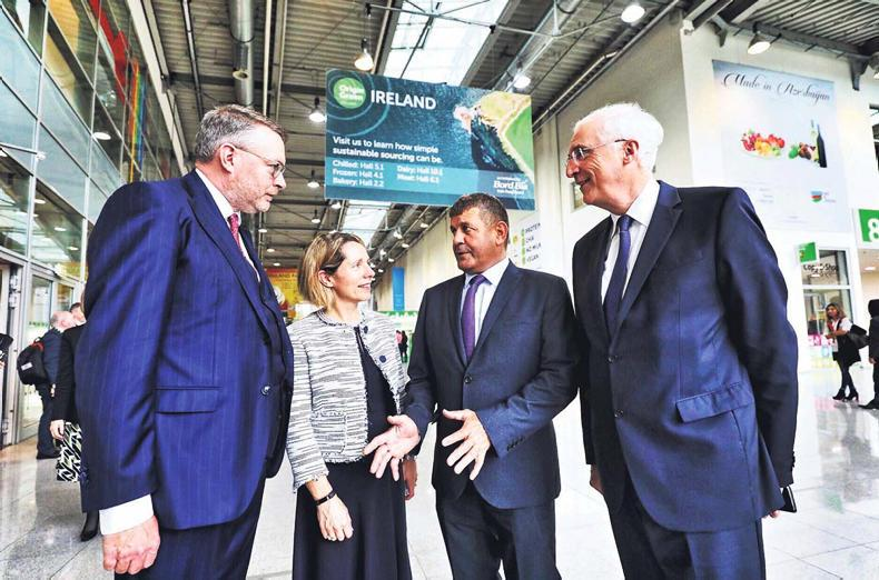 Attending the ANUGA Food Fair in Cologne where Bord Bia outlined its Market Prioritisation initiative were (L-R):  Michael Carey, Chairman Bord Bia; Tara McCarthy, CEO Bord Bia;  Minister of State, Andrew Doyle T.D. and Ambassador of Ireland to Germany, Michael Collins.