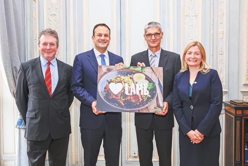 During his visit to Paris this week Taoiseach Leo Varadkar met with (L-R): Adam Quinney, Chairman AHDB Beef & Lamb; Maurice Huet, Chairman Interbev Ovin and Noreen Lanigan, Manager, Bord Bia Paris to welcome the introduction of a new EU Lamb Promotion Campaign.
