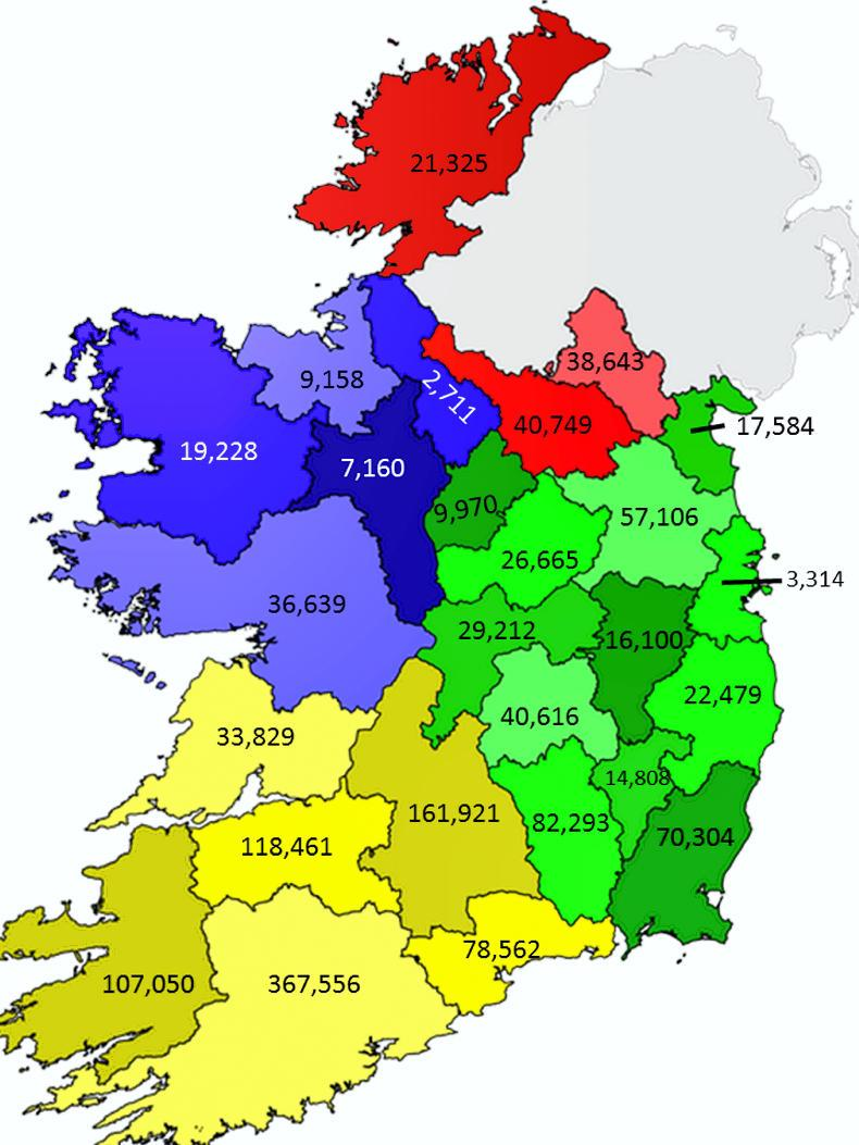 Map how many dairy cows are there in each county in Ireland 14