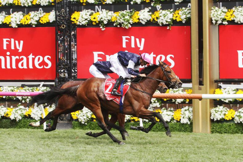 Rekindling,(Corey Brown, trainer Joseph O'Brien, white cap), wins the Group 1, Melbourne Cup, at Flemington, 7 Novemberber, 2017. Copyright: Colin Bull.