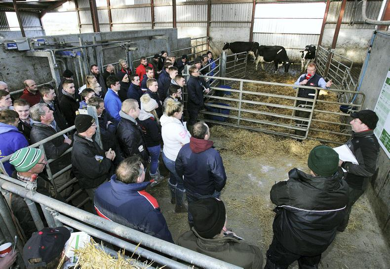 Jack Kennedy addressing the crowd during Tuesday's Dairylink farm walk, hosted by Nigel Corbett, Banbridge.