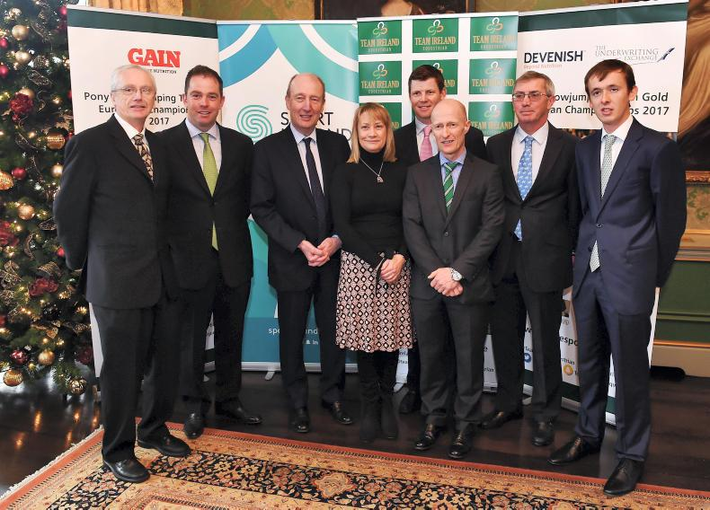 Ireland's 2017 European Championship-winning senior and pony show jumping teams were honoured at a special medal reception in Dublin on Monday. (l-r) Minister for Transport, Tourism and Sport Shane Ross, John Treacy, CEO Sport Ireland, Cian O'Connor, Sally Ann Tobin, High Performance Committee member, Shane Sweetnam, Ronan Murphy, CEO Horse Sport Ireland, Michael Blake, and Bertram Allen (Photo by Seb Daly/Sportsfile)