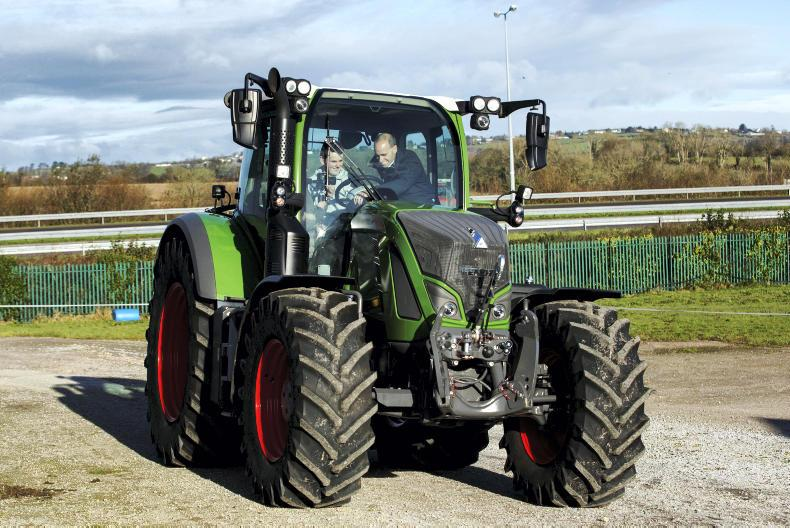 Sean Gorman, Fendt Area Sales Manager goes through the safety features in Fendt tractors with Safe Family Farms Competition winner Michael Murphy from St Michaels College, Listowel before he takes part in the Fendt Driving Experience in association with ESB Networks and Aitkins Cork.