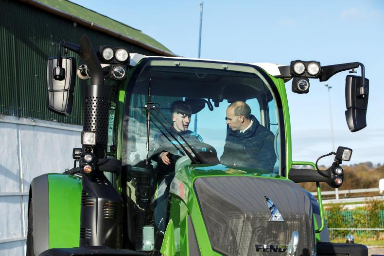 Sean Gorman, Fendt Area Sales Manager and Evan Flavin from St Michaels College, Listowel take part in the Fendt Driving Experience in association with ESB Networks and Aitkins Cork.