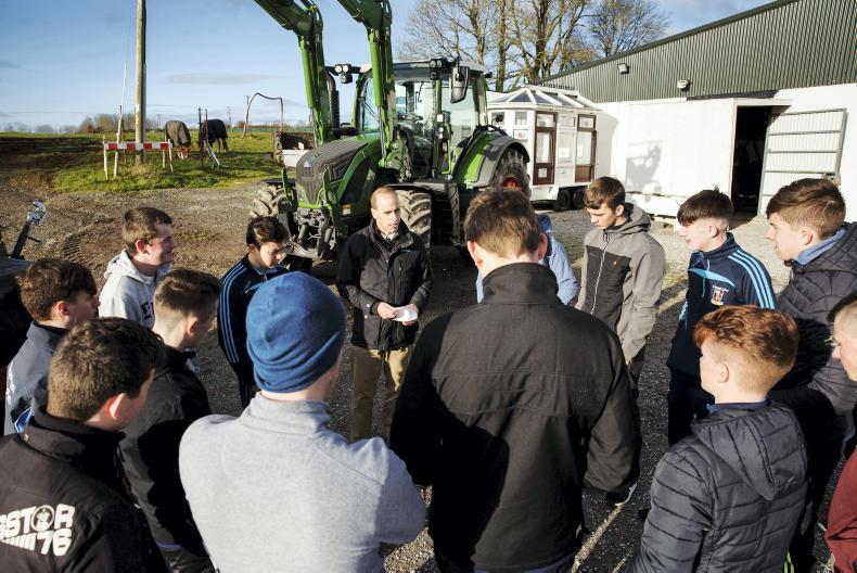 Sean Gorman, Fendt Area Sales Manager gives a run down on the safety features on Fendt tractors to students from St Michaels College, Listowel before they take part in the Fendt Driving Experience in association with ESB Networks and Aitkins Cork.