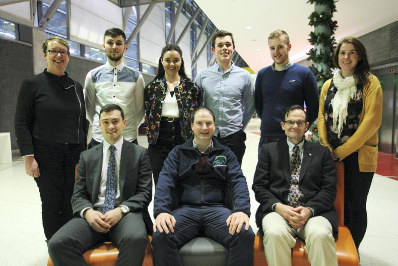 Travel bursaries were awarded to six top agricultural science students to support overseas professional development. Pictured are Monica O'Gorman, UCD; Anthony Jordan, IFJ; Michael Kean, Mairead Fox, Derrie Dillon, ASA president; Michael Delaney, Matthew Lang, Prof Alex Evan, Dean of Agriculture and head of the School of Agriculture and Food Science, UCD; Aoife Osborne, UCD.