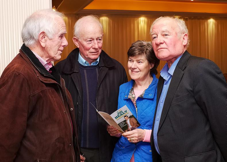 Ann Mitchell, then campaign manager for Joe Healy, at the 2016 IFA presidential hustings in Kilkenny with  (from left) John Kennedy and Jim Cummins, Tullougher, and John Donnelly, Loughrea. \ Mike Hoare