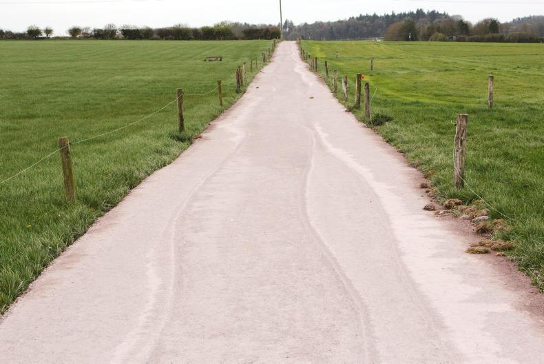 Finished farm roadway after using a paver to resurface it in Co. Waterford. Photo: Donal O' Leary