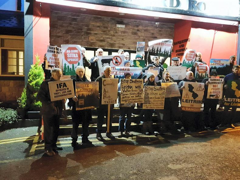 Members of the Save Leitrim group staged an anti-forestry protest at the CAP consultation meeting in Carrick-on-Shannon on Wednesday night. \ Trevor Boland