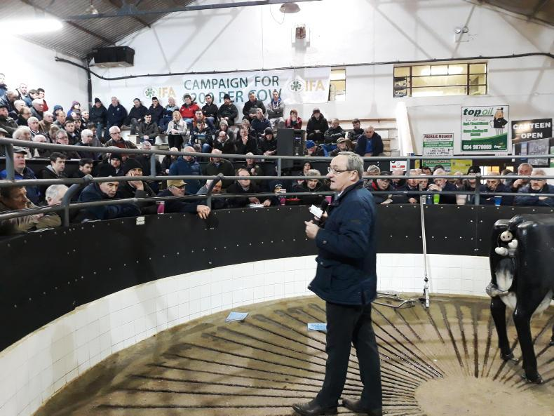 Kevin Kinsella, IFA Director of Livestock, addressing farmers at last Friday's Save Our Sucklers event in Elphin Mart.