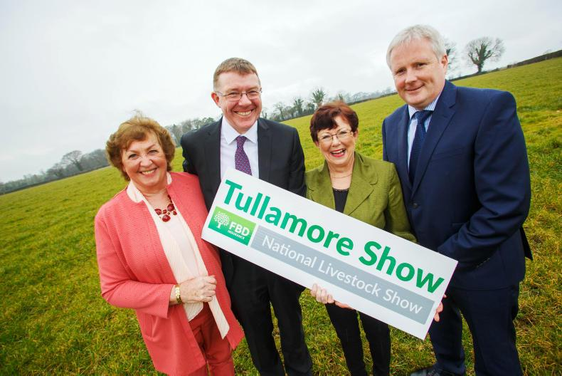 Freda Kinnarney, operations manager, Tullamore Show; Pat Gilligan, head of sales, midlands and northwest, FBD Insurance; Brenda Kiernan, chair, Tullamore Show; and John Cahalan, chief commercial officer, FBD Insurance.