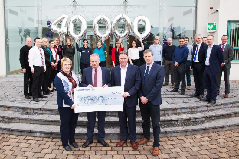 L-R Barbara O'Connell, ABII CEO; Pat Duffy, Aurivo Chairman; Aaron Forde, Aurivo CEO and Billy McMahon, Aurivo Donegal board member with Aurivo employees at the presentation of €40,000 to ABII
