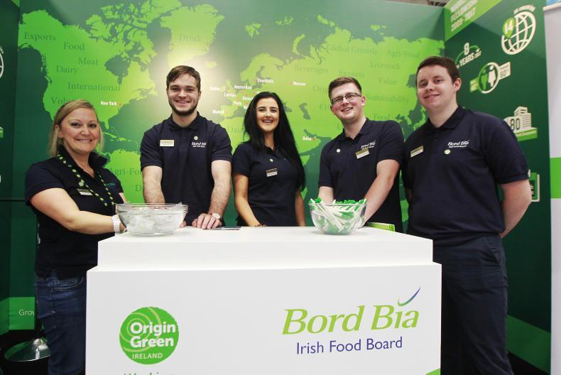 At the Bord Bia stand at the agri careers fair in the RDS are Sarah Murphy, Ultan Harney, Elaine McClelland, Conor Williams and Patrick Black.