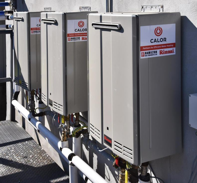 These gas-powered water heaters used on dairy farms are among the appliances able to switch to renewable BioLPG.