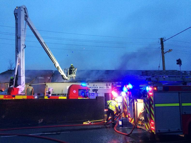 Firefighters tackle the blaze at Carrick-on-Suir Mart \ Tipperary Fire and Rescue (Facebook).