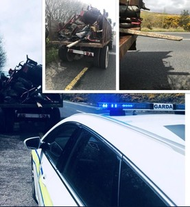 In pictures: gardaí stop a tractor pulling dangerous load of scrap metal