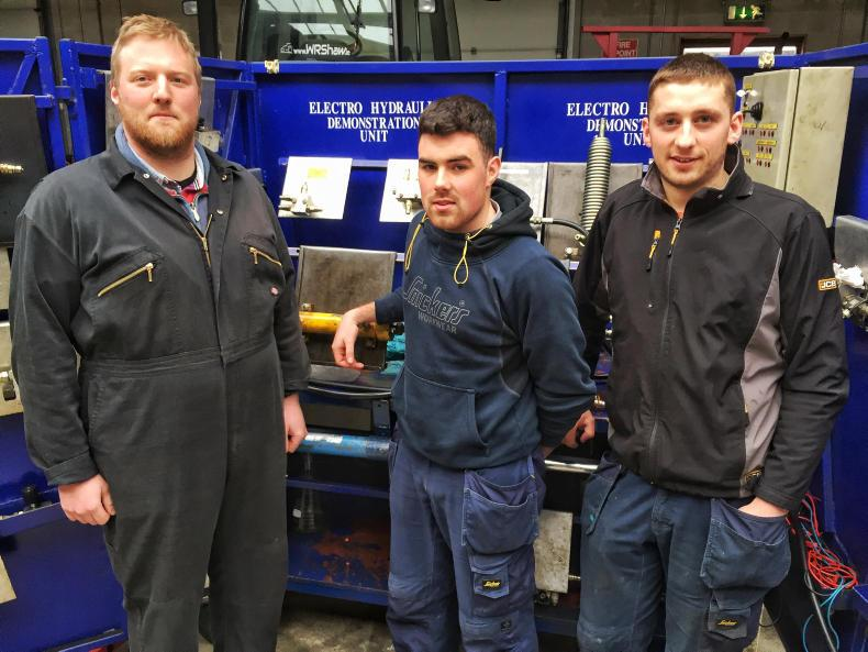 From left: agricultural mechanics apprentices Brendan Quane, David Byrne and James Lenihan at IT Tralee, Co Kerry. \ Thomas Hubert