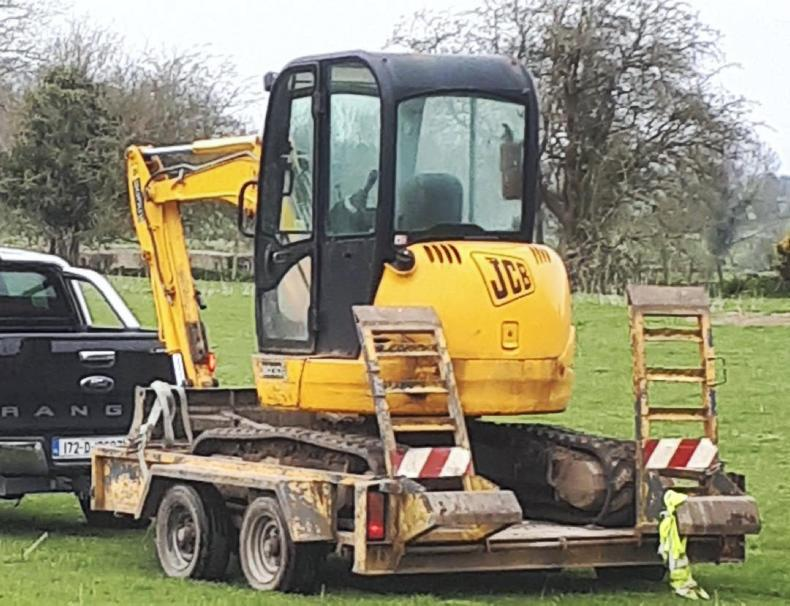 This JCB digger and trailer were among items stolen from fencing contractors in a field in Co Meath. \ Kevin Lernihan