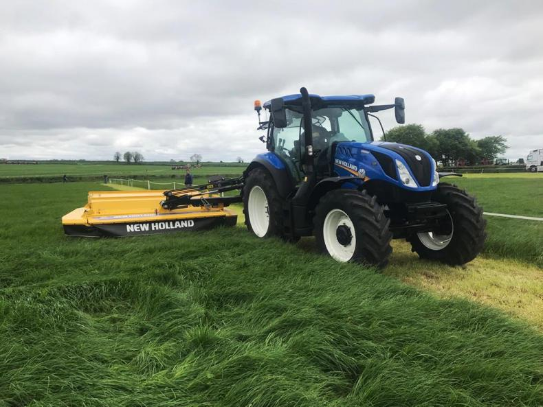 The New Holland DiscCutter mounted mower-conditioner in operation on Tuesday at  Gurteen college ahead of Thursday's FTMTA Grass and Muck event.