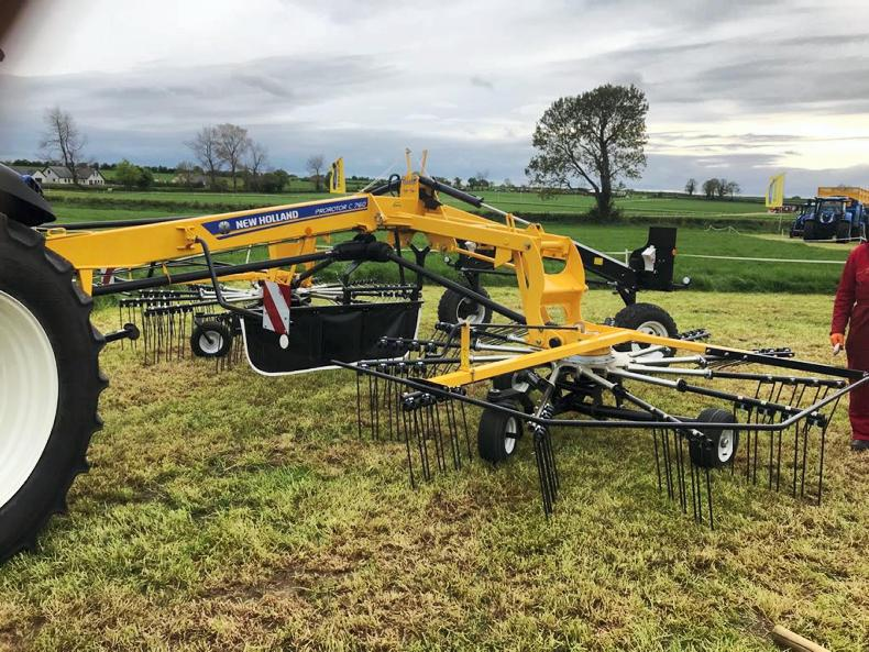 The New Holland C760 twin rotor rake was on display on Tuesday at  Gurteen college ahead of Thursday's FTMTA Grass and Muck event.