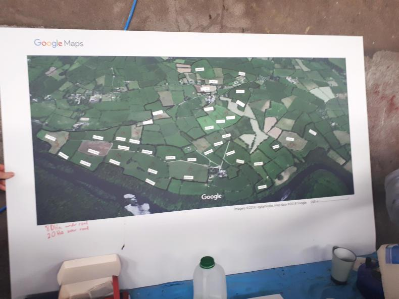 Farm map with details of soil fertility and grass grown sourced from hello.com.
