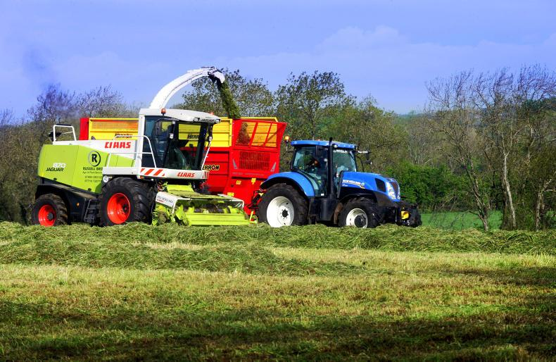 Contractors Russell Bros. from Loanends starting the first cut of silage on 60 acres at Templepatrick.